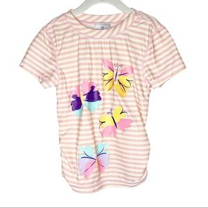 Girls Hanna Anderson Swim Floral Striped Shirt 10